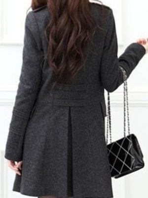 Womens standing collar Wool Coat