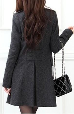 Womens standing collar Wool Coat