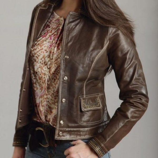Womens Brown Fashion Winter Leather Jacket-0