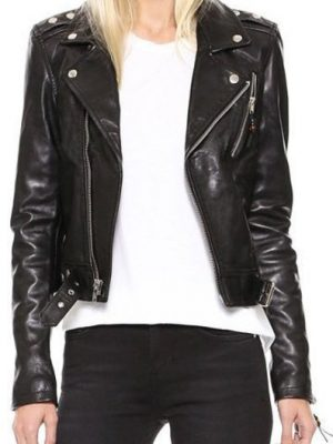 Womens Black Winter Leather Jacket-0