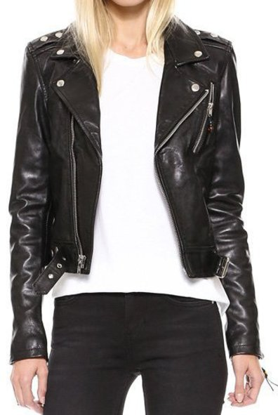Womens Black Winter Leather Jacket-0