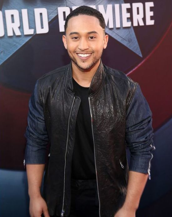 Tahj Mowry Black Leather Jacket with Cotton Selvess -0