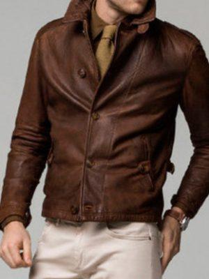 Mens Vintage Brown Winter Leather Jacket-0
