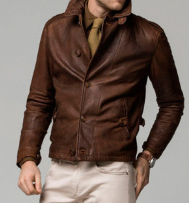 Mens Vintage Brown Winter Leather Jacket-0