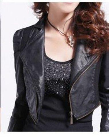 Womens Biker Leather Black Jacket