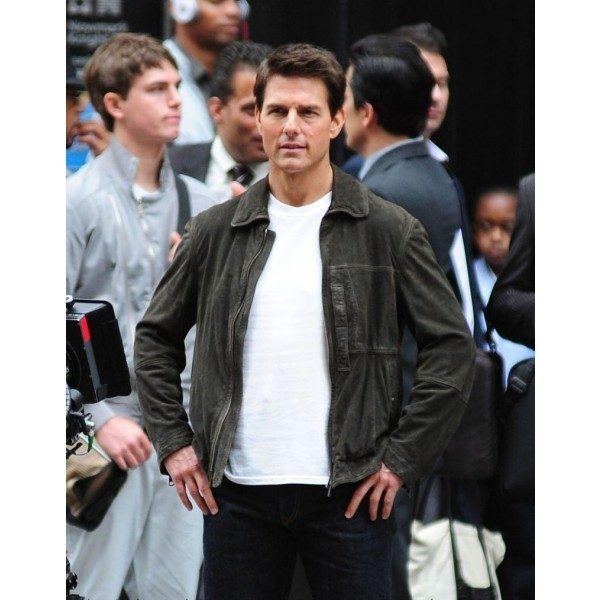 Tom Cruise Green Winter Leather Jacket Oblivion -0