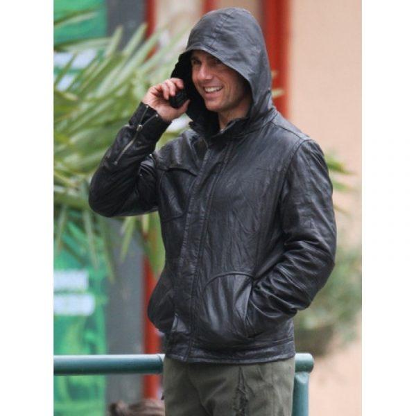 M.I 4 Tom Cruise Hooded Leather Jacket