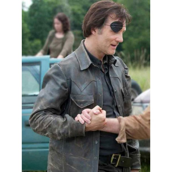The Walking Dead David Morrissey Black Leather Jacket