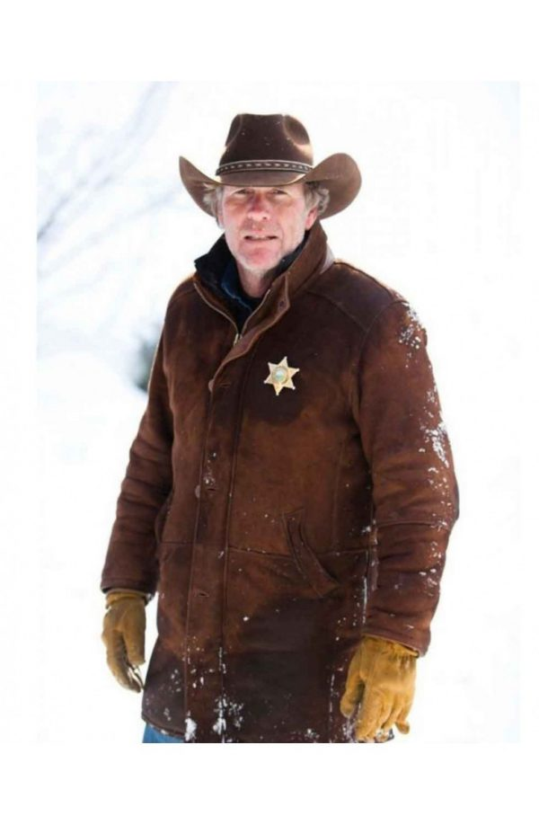 Robert Taylor Brown Leather Coat Longmire Series-0