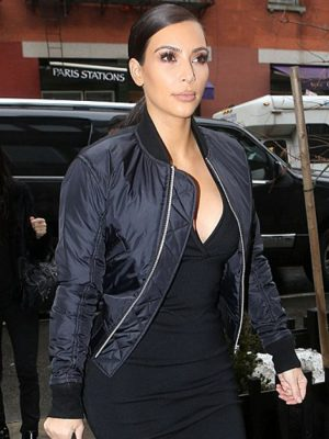 Kim Kardashian Black Satin Jacket