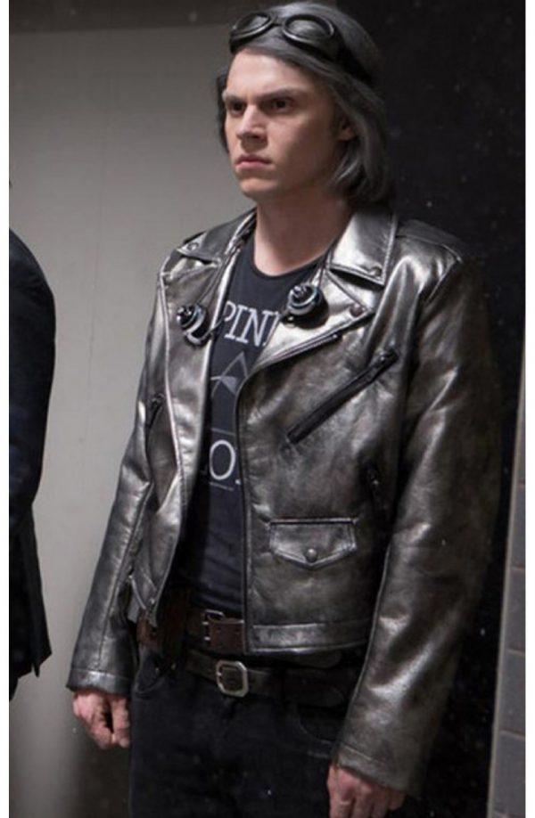 Evan Peters X Men Apocalypse Silver Leather Jacket