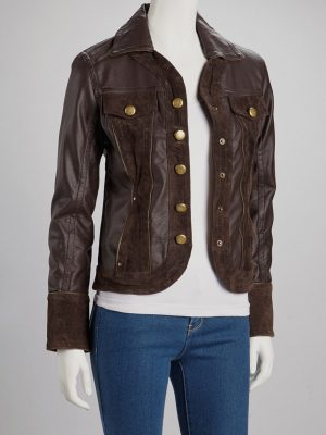 Womens Dark Brown Winter Leather Jacket -0