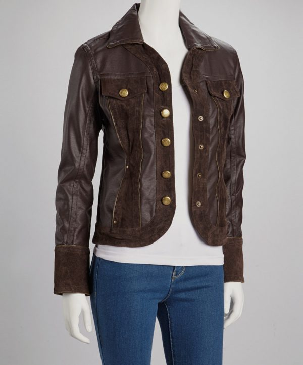 Womens Dark Brown Winter Leather Jacket -0