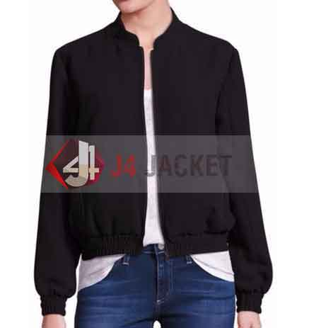 Ghost In The Shell Scarlett Johansson Black Bomber Jacket-0