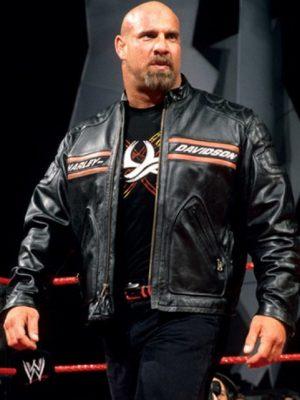 Bill Goldberg Harley Davidson Black Biker Leather Jacket