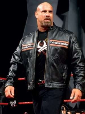 Bill Goldberg Harley Davidson Black Biker Leather Jacket-0
