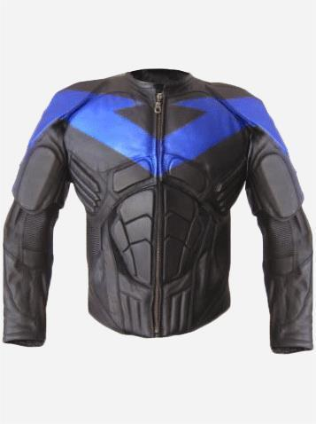 NIGHTWING BLUE STRIPE LEATHER JACKET-0