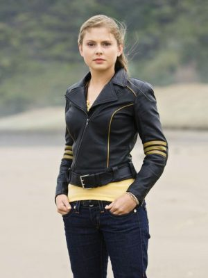 Rose McIver Power Rangers RPM Yellow Ranger Leather Jacket-0