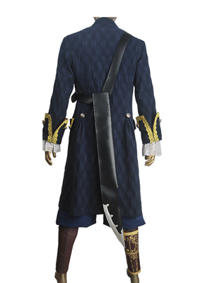 Pirates of the Caribbean Captain Hector Barbossa Blue Costume