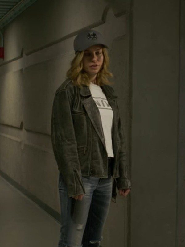 Brie Larson Distressed Black Jacket
