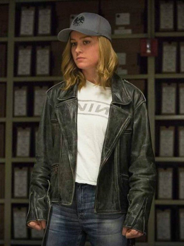 Brie Larson Black leather jacket-0