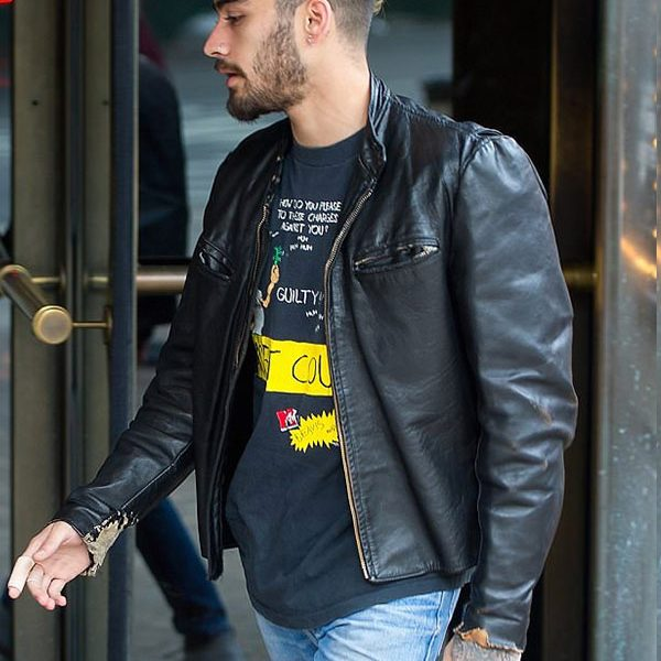 Zayn Malik Vintage Leather Moto Jacket-0