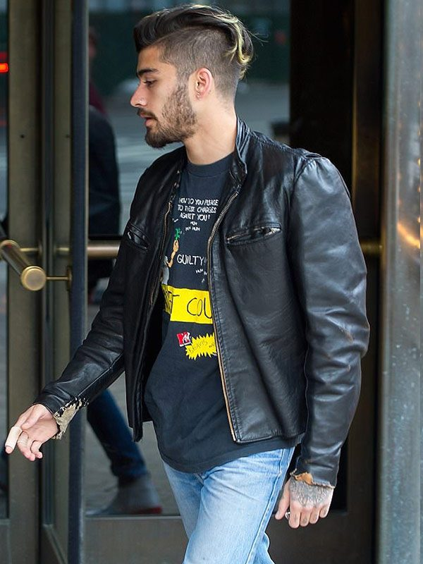 Zayn Malik Vintage Leather Moto Jacket-0