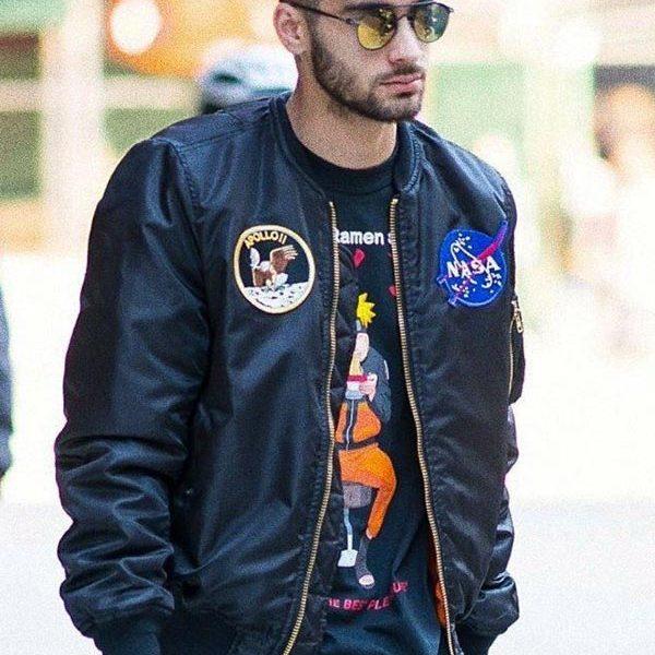 Zayn Malik NASA Black Bomber Jacket. -0