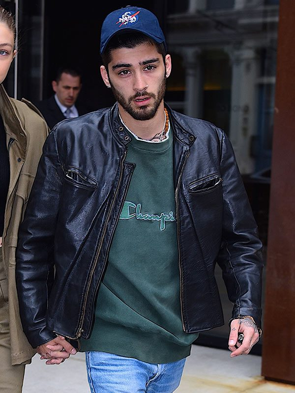 Zayn Malik Vintage Leather Moto Jacket-5159