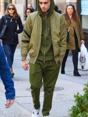 Zayn Malik Green Bomber Jacket. -0