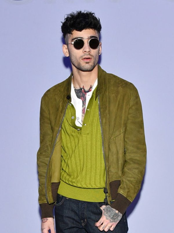 Zayn Malik Green Suede Leather Jacket -0