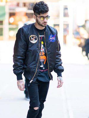 Zayn Malik NASA Black Bomber Jacket. -5174