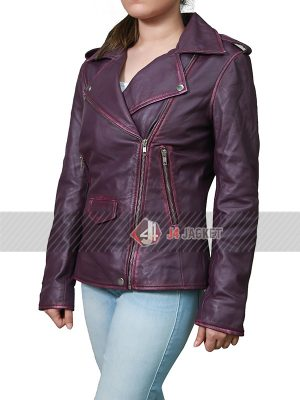 Oceans Eight Anne Hathaway Purple Leather Jacket-5256