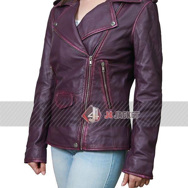 Oceans Eight Anne Hathaway Purple Leather Jacket-5256