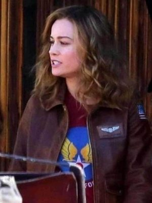 Carol Danvers Captain Marvel Aviator Jacket-0