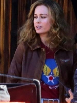 Carol Danvers Captain Marvel Aviator Jacket-5188