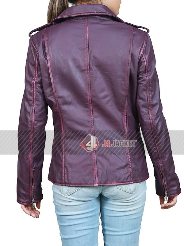 Oceans Eight Anne Hathaway Purple Leather Jacket-5257