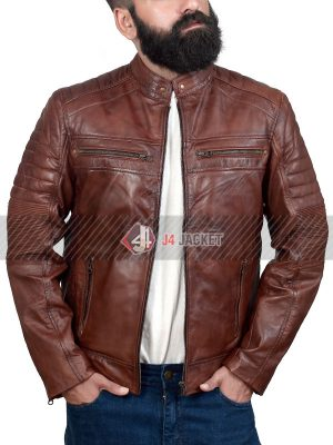 Brown Cafe Racer Jacket for Men-0