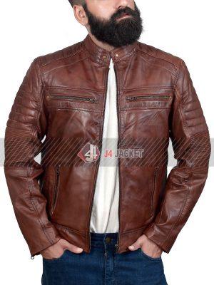 Brown Cafe Racer Jacket for Men-0