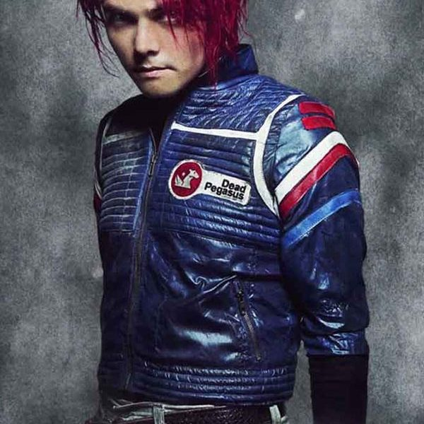 Party Poison My Chemical Romance Blue Leather Jacket