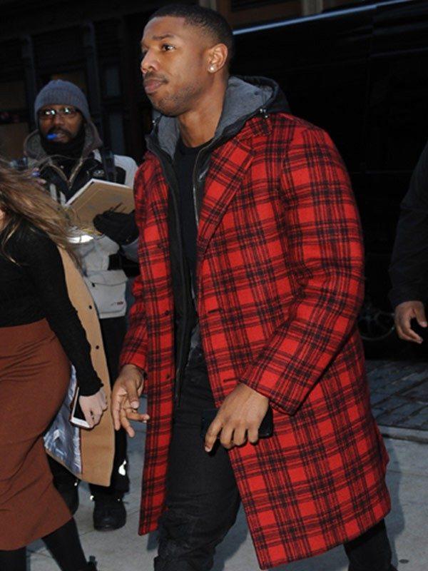 Michael B. Jordan Red Plaid Coat