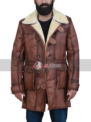 Brown Shearling Bane Coat for Men