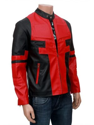 Deadpool Ryan Reynolds Red and Black Leather Jacket-0