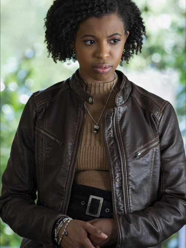 Grace Saif 13 Reasons Why Ani Achola Brown Jacket