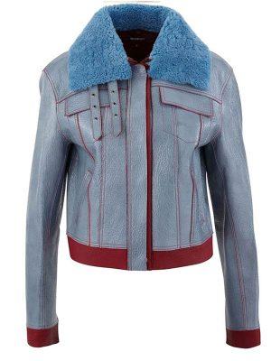 Zoe Chao Love Life Blue Leather Jacket