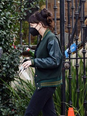 Dakota Johnson Am I OK Green Varsity Jacket
