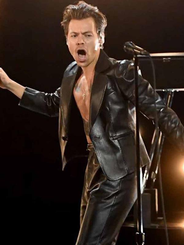 Harry-Styles-Grammy-2021-Black-Leather-Jacket