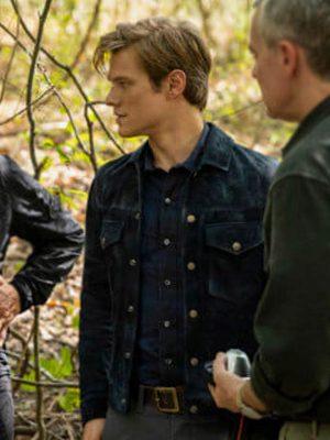 MacGyver Lucas Till Blue Leather Jacket