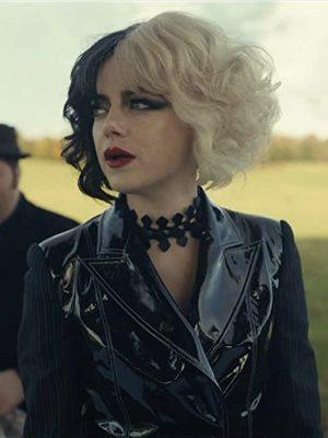 Cruella Movie Emma Stone Shiny Black Jacket
