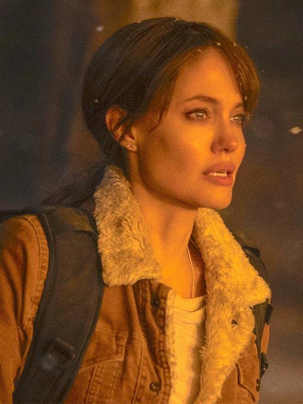Angelina Jolie Brown Shearling Jacket